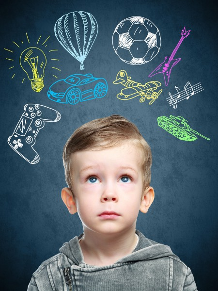 A conceptual image of a thinking child